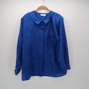 Worthington Blue Long Sleeve Collared Blouse 18W